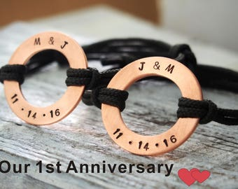 mens bracelet personalized bracelet valentines day gift for him hand stamped couples bracelet