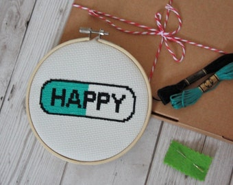 Happy Pill modern cross stitch kit easy embroidery hoop art  beginners instruction guide simple pattern craft kit wall decor gift needlework