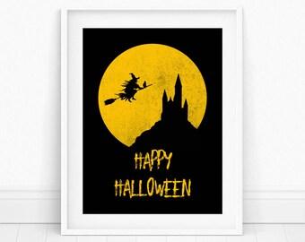 Halloween Wall Art - Happy Halloween Print, Trick or Treat Art, Happy Halloween Art, Halloween Party Art, Happy Halloween Sign, Halloween