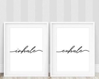 Inhale Exhale Print Yoga Wall Art Typography