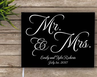 Mr. and Mrs. Wedding Guest Book, Custom guest book, Personalized Guest Book, elegant wedding guest book, black and white
