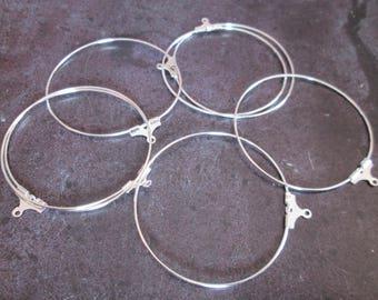2 hoop earrings silver 40 mm