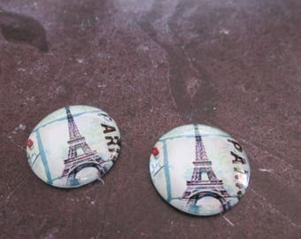 2 cabochons round glass 20 mm Eiffel Tower # 3