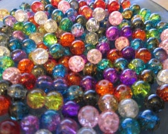 10 multicolor 8 mm Crackle effect glass beads
