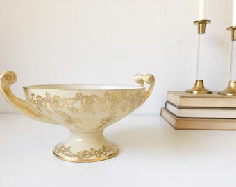 Vintage Hutschenreuther Bavarian Pedestal Base Round Tureen / Vegetable Bowl with Handles + Ivory with Gold Floral and Trim + 1920s 1930s +