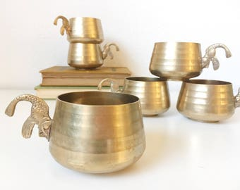 Vintage Brass Cups with Ornate Koi Fish Handle + Set of 6 + Teacups Gift for Tea Lover + Barware Cocktail Set + Mid Century Serving