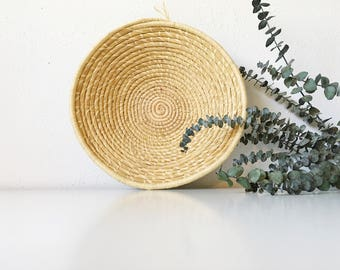 Vintage Handwoven Raffia Coil Wicker Basket Bowl + Beige Neutral + Southwest Tribal Boho Bohemian Jungalow + Wall Decor + Naturally Modern