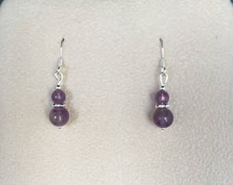 February Birthstone  - Amethyst and sterling silver earrings, birthday gift