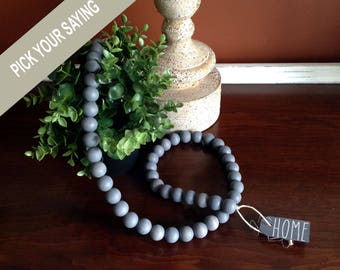"Gray Stained Wood Bead Farmhouse Style Decorative Garland 44"". Stained wood garland, Rustic Bead Garland, Wood Bead Strand, Beach Decor"