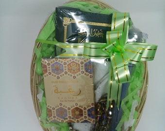 Muslim mens gift basket for ramadan eid hajj umrah birthday nikah wedding islamic gift set,muslim gift set, miswak tasbeeh muslim cap topee