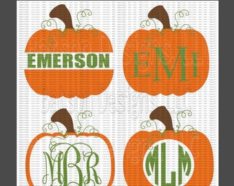 Pumpkin Monogram Frames Instant Download for Cutting Machines *Fonts Shown Not Included* |  Fall Halloween Thanksgiving SVG Eps Dxf Png