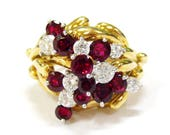 18K Ruby & Diamond Cluste...