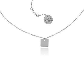 Choker chain fine pendentifd square silver plated