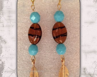 Golden Feather brown glass bead earrings