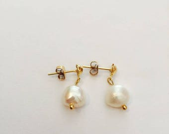 Gold Filled 18k Earrings with Fresh Water, Birthday Gift, First Communion Gift.