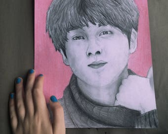 BTS Jin drawing print (8x10)