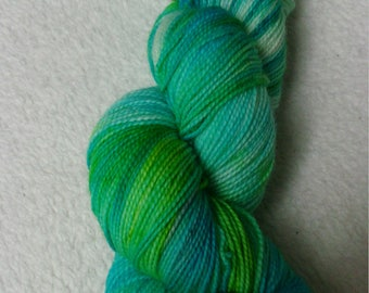 Merino Wool high twist hand dyed lime turquoise blue Barbados