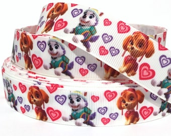 "GROSGRAIN RIBBON 7/8"" Paw Patrol Dogs P1 Printed  By the Yard( Buy Another One, Add to Cart,  Save on Combine Shipping )"