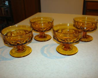 Vintage Indiana Glass Thumbprint Amber 4 Sherbert Dishes
