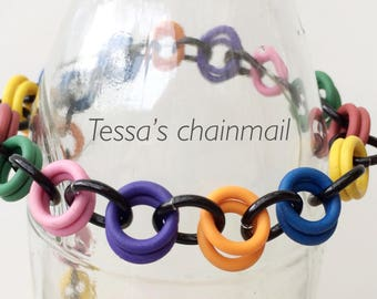 Chainmaille bracelet, rainbow bracelet, rubber bracelet, multi colour bracelet, colour bracelet,  multi colour jewelry,Tessa's chainmail