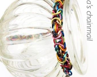 Chainmaille bracelet, byzantine rainbow bracelet, rainbow bracelet, multi colour  bracelet, rainbow jewelry, Tessa's chainmail