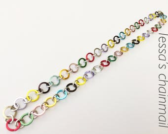 Rainbow necklace, colour necklace, multicolored necklace, colour jewelry, chainmaille necklace, multicolored necklace, Tessa's chainmail