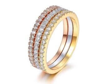 3 Pcs. Stackable Eternity Ring Set
