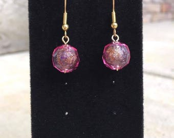 Pink Disco Ball Dangle Earrings, Drop Earrings, Pink and Gold