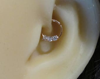 Rose Gold Surgical Steel Daith Piercing Ring with cz's,Cartilage,Helix,Septum.18g..8mm