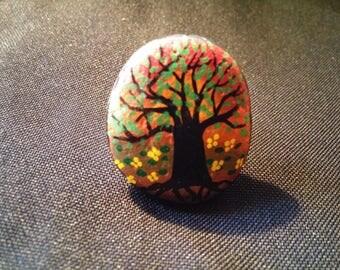 Summer tree painted Pebble ring
