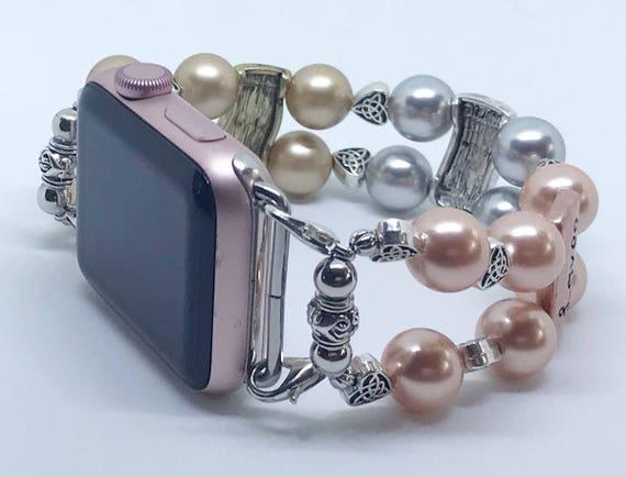 "Apple Watch Band, Women Bead Bracelet Watch Band, iWatch Strap, Apple Watch 38mm, 42mm, Love Faith Hope Swarovski Pearl Size 7 1/2"""