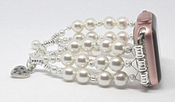 "White Swarovski Pearl Size 6 1/2"" to 7 1/2"", ADJUSTABLE APPLE WATCH Band, Women Bead Bracelet, iWatch Strap, Apple Watch 38mm, 42mm (Custom)"