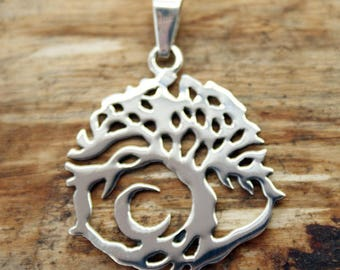 Silver Plated Tree of Life Pendant with Free Chain  (TP-002)