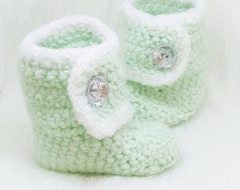 Princess Crochet Boots-Baby Girl Clothes - Baby Photo Prop - Newborn Baby Booties - Newborn Girl Coming Home Outfit - Baby Girl Shoes -