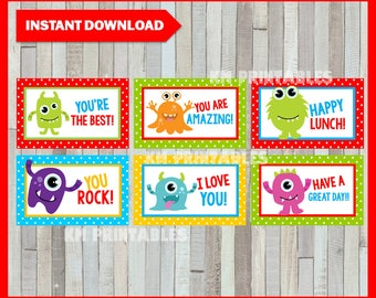50% OFF SALE Printable Monster Lunchbox Notes instant download, Monster Lunch Box Notes, Printable School LOVE Notes
