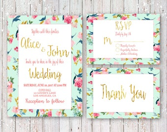 Gold Foil Leaves, Letters and Pink Flowers Wedding Invitation Set