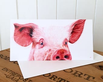 Pig Greetings Card - Pig Card - Pig Art - Pig Painting - Original Pig Art - Birthday Card - Blank Card - Farm Animal Card
