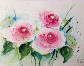 ORIGINAL WATERCOLOR watercolor painting roses picture art of watercolour flowers