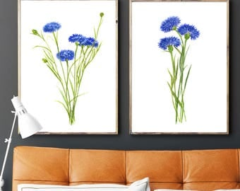 Cornflowers watercolor art print Cornflowers painting Cornflowers set of 2 Cornflowers home decor Cornflowers wall decor cornflowers poster