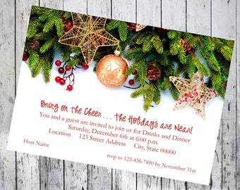 Pine with Berries and Ornaments Holiday Cheer Invitation