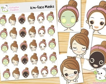 Face Masks Kawaii Icon Planner Sticker