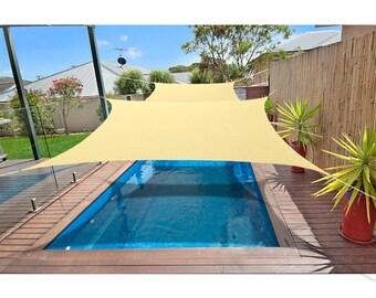 Custom Sized Rectangular Waterproof Woven Sun Shade Sail in Vibrant Colors - Vanilla Cream