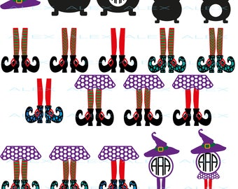 70% OFF,  Witch Monogram Svg, Witch Legs svg, Halloween svg, Witch Legs in Cauldron Svg, Dxf, Eps, Png files, Silhouette Cut Files