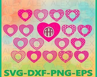 70% OFF, Hearts Monogram SVG, Valentine's day svg, Cutting File Design, Chevron Files Svg, Heart File svg, png, eps, dxf, ai, Silhouette