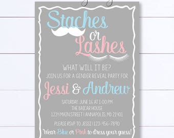 Staches Or Lashes Gender Reveal Invitation, Gender Reveal Invitation, Baby Reveal Invite, Staches Or Lashes,  Gender Reveal Party, He Or She