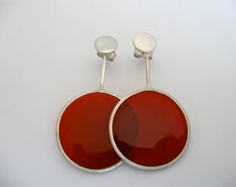 Silver Transparent Earring with red-coloured resin