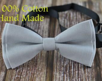 MEN Women 100% Cotton Matte Silver Grey Solid Craft Bow Tie Bowtie Wedding Party