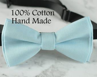 Men Women 100% Cotton Matte Baby Blue Solid Craft Bow Tie Bowtie Wedding Party
