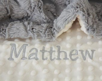 Minky Baby Blanket / Name Baby Blanket / Ivory Baby Blanket / Newborn Boy Blanket / Newborn Girl Blanket / Newborn Baby Shower Gift
