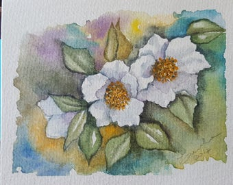 Watercolor painting-Christmas roses-15.5 x 12.5-100% cotton paper-author Teresalia